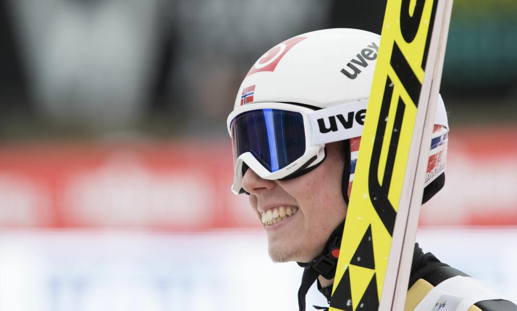 <strong>TREDJEPLASS:</strong> Johann André Forfang kom på tredjeplass under hopp i stor bakke i tyske Klingenthal. Her under Raw Air i Vikersund. Foto: Terje Bendiksby / NTB scanpix