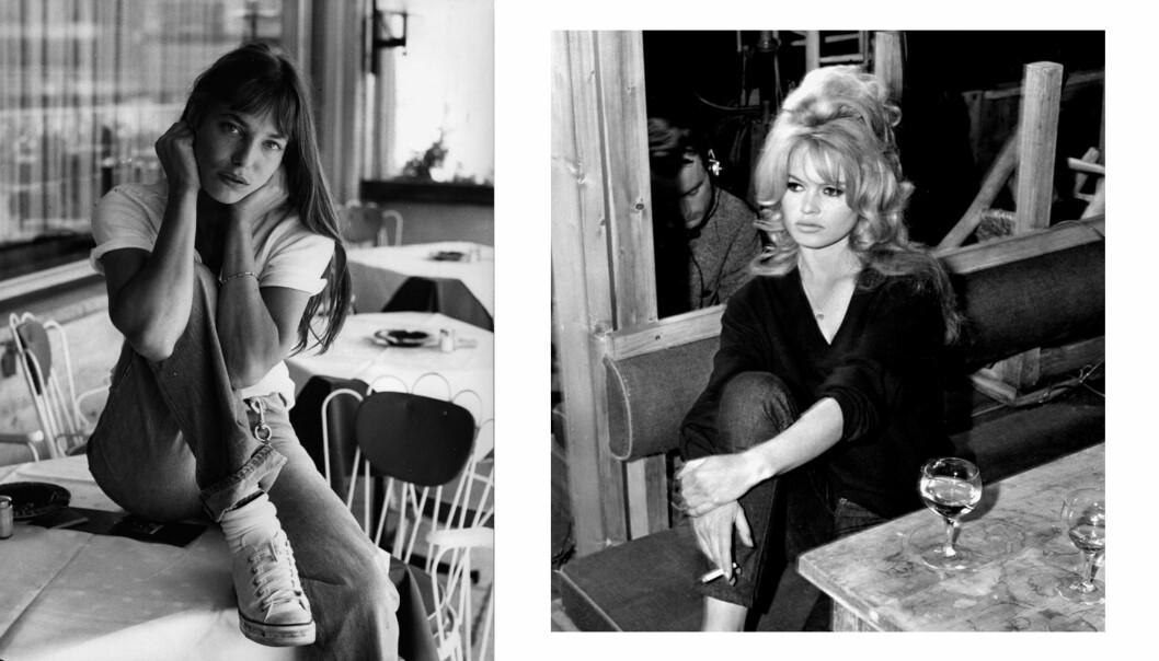 IKONER: Jane Birkin (t.v.) og Brigitte Bardot (t.h.) har begge hatt en variant av den såkalte gardin-panneluggen. Foto: NTB Scanpix