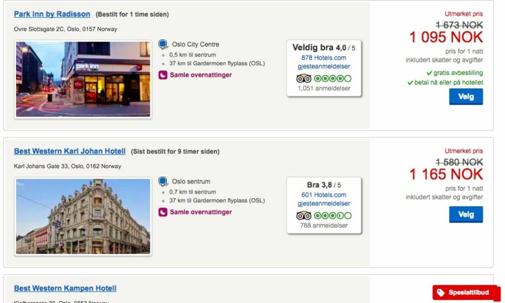 LOKKEPRISER: Hotels.com frister med gode tilbud. Men er det egentlig et tilbud, så lenge før-prisen ikke er reell? Skjermdump: Hotels.com