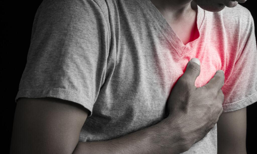 HJERTEINFARKT: Norske forskere har funnet ut at det er kjønnsforskjeller i risiko for hjerteinfarkt. Hvert år rammes mellom 10 000 og 15 000 personer av hjerteinfarkt i Norge. Foto: NTB Scanpix/ Shutterstock