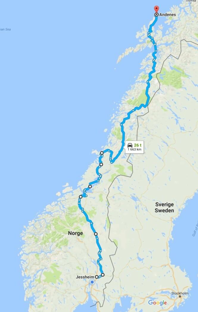 Her ser du hvor jeg har syklet så langt. Helt øverst i høyre hjørne ligger Tromsø, og det gjenstår nå bare ca 15 mil. Hittil har jeg tilbakelagt ca 166 mil.