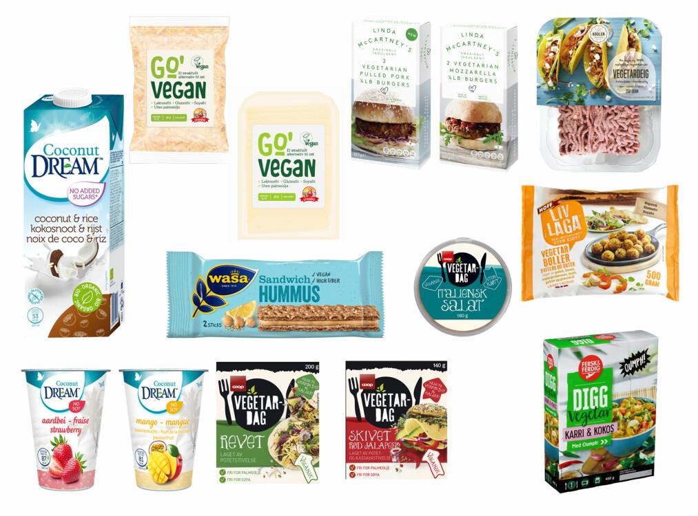 <strong>GRØNNE NYHETER:</strong> Her er noen av de vegetarianske og veganske nyhetene som er nye i matbutikkene i høst.