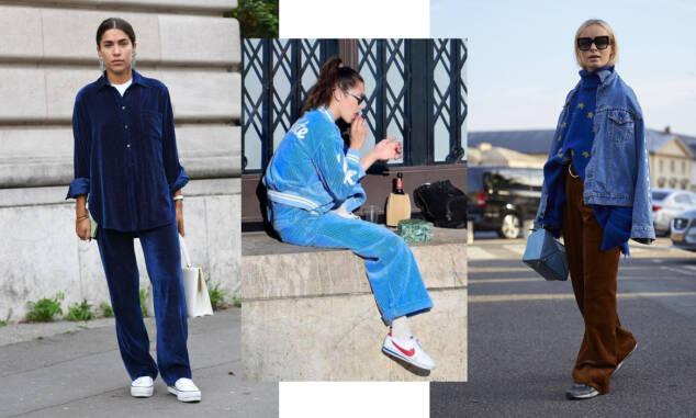 HOT OG BLÅTT: Streetstyle-stjernene og Bella Hadid (i midten) velger blå kordfløyel. Foto: Scanpix og skjermdump fra Bella Hadis Instagram