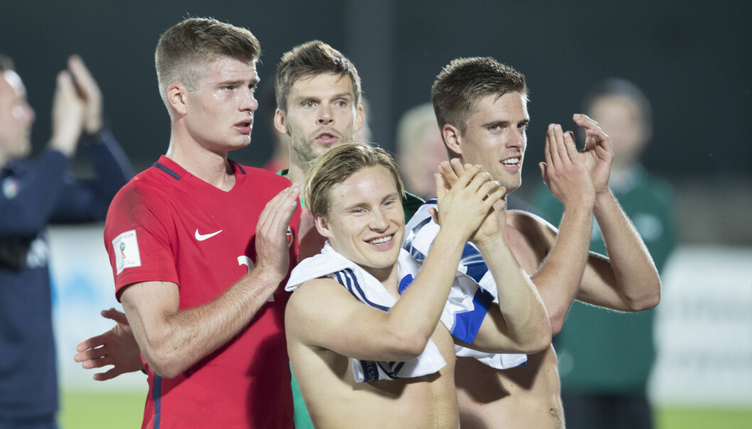 <strong>JUBEL:</strong> Norge feide over San Marino og vant 8-0 torsdag. Fra høyre: Alexander Sørloth, Rune Almenning Jarstein, Jonas Svensson og Markus Henriksen. Foto: Vidar Ruud / NTB scanpix