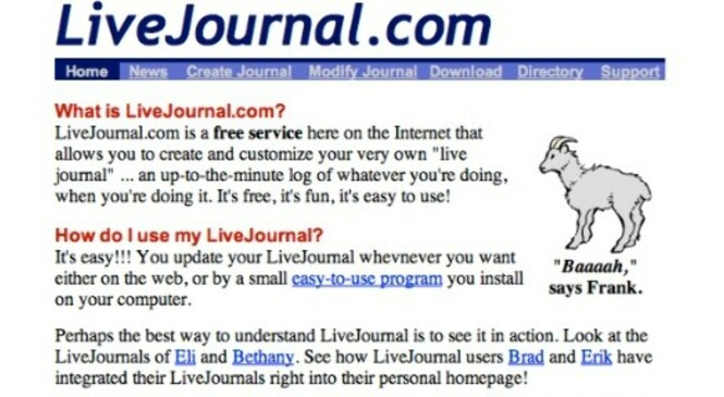 <strong>FØR FACEBOOK:</strong> LiveJournal var tuftet på mange av de samme idéene, men tjenesten ble dårlig forvaltet. Skjermdump: Wayback Machine