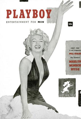 <strong>FØRSTEUTGAVEN:</strong> Da Playboy kom i bladhyllene første gang, virket det som om filmstjerna Marilyn Monroe hadde posert for bladet. Dét var langt unna sannheten. Foto: Playboy via AP/ NTB scanpix