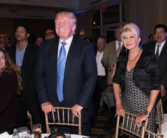 <strong>STØTTET SØNNEN:</strong> Donald og Ivana Trump sammen i 2014 under en middag i forbindelse med sønnen Erics golfturnering. Foto: AFP