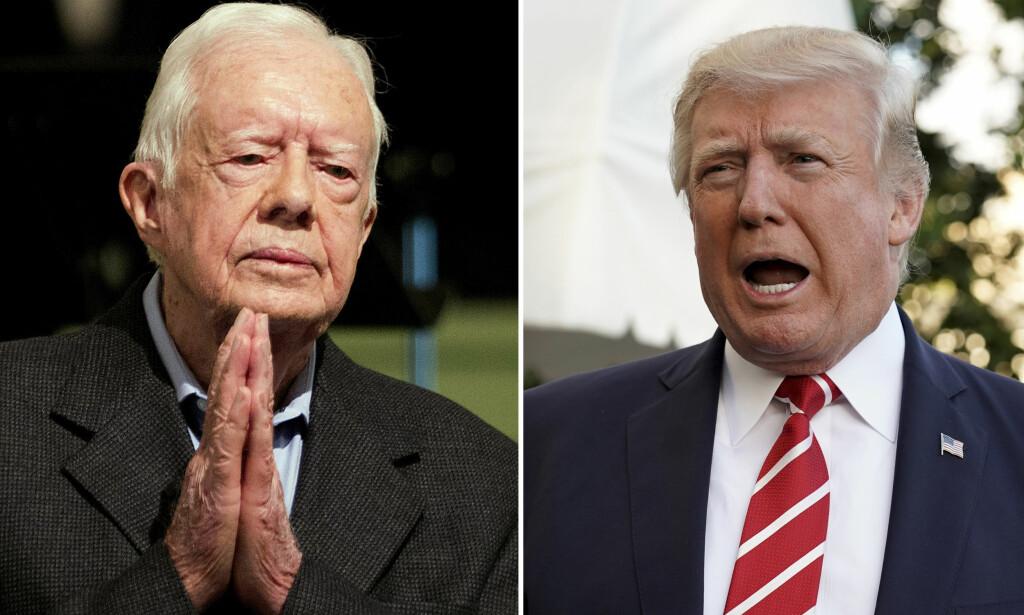 PRESIDENTER: Jimmy Carter og Donald Trump er tilsynelatende i full klinsj over Nord-Korea-spørsmål. Foto: David Goldman / AP / Yuri Gripas / Reuters / NTB Scanpix