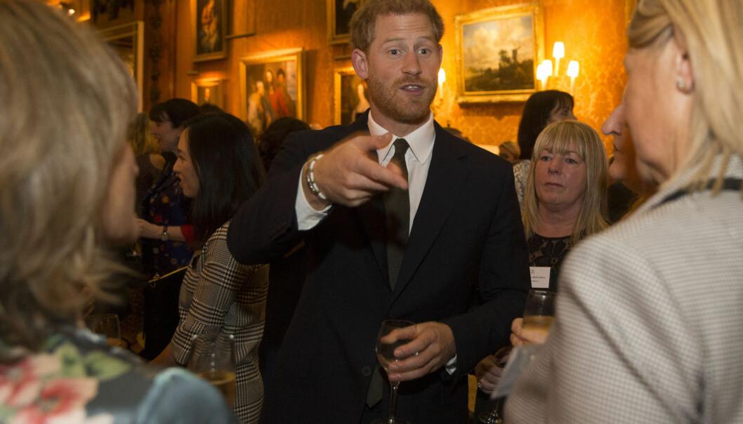 KOM ALENE: Prins Harry hadde ikke med seg sin nye kjæreste Meghan Markle på den kongelige mottakelsen. Foto: NTB Scanpix