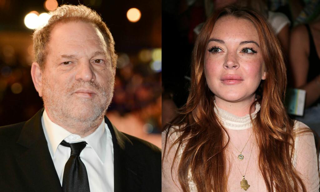 FIKK UVENTET STØTTE: Den overgrepsanklagede filmprodusenten og Hollywood-mogulen Harvey Weinstein fikk støtte av skuespiller Lindsay Lohan i flere Instagram-innlegg. Nå har Lohan slettet innleggene. Foto: NTB Scanpix