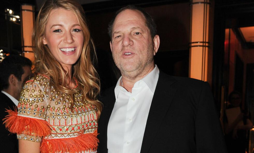 I HARDT VÆR: Filmprodusent Harvey Weinstein, her avbildet med «Gossip Girl»-stjernen Blake Lively i 2011, skal ha brutt sammen og sjekket inn på sex-rehab denne uken. Foto: Billy Farrell Agency/REX/Shutterstock/ NTB scanpix