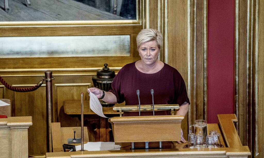 PRESENTERTE STATSBUDSJETTET: Og med det redegjør finansministeren også for bruken av 231 milliarder oljefondskroner. Foto: Thomas Rasmus Skaug / Dagbladet