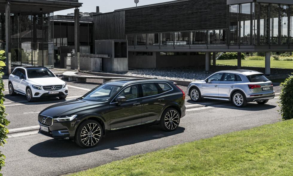 SUV-ENE ALLE VIL HA: Autofil har testet nye Volvo XC60, Mercedes GLC og Audi Q5. Tre populære SUV-er som alle med grenseløs luksus og komfort vi ikke har opplevd maken til i familiebilsegmentet. Foto: Jamieson Pothecary og Fred Magne Skillebæk