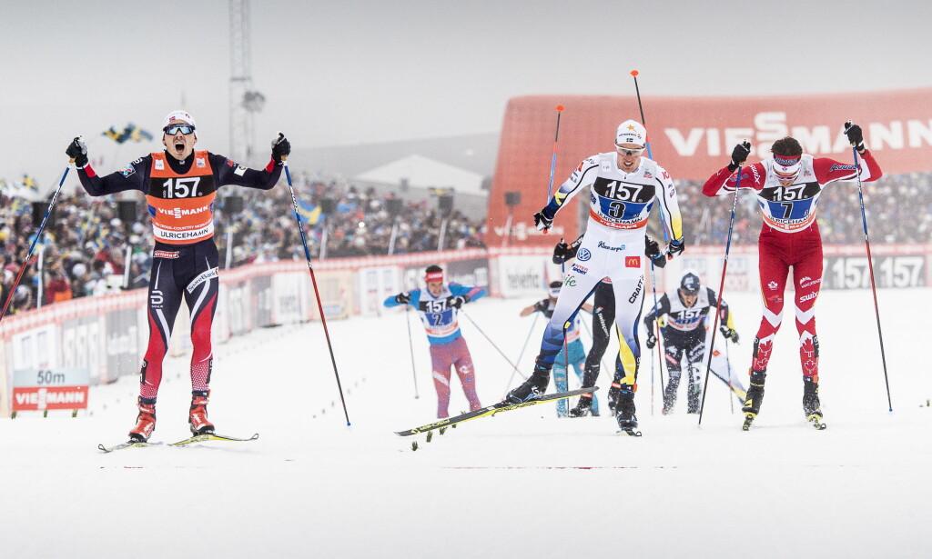 RIVALER: Sverige og Norge er rivaler i skisporet. Her ved Finn Hågen Krogh som spurter inn til seier. Tidligere har det også vært bråk om hvilke sponsorer nasjonene har. Foto: Lars Eivind Bones / Dagbladet