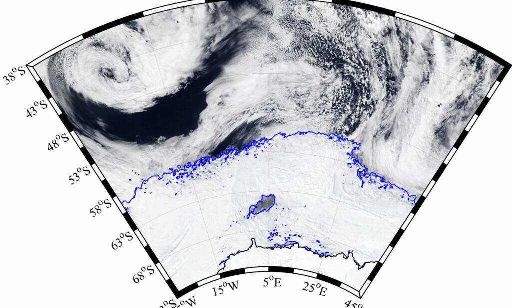 MYSTERIUM: Satellittbildet viser Weddell-polynjaens plassering i pakkisen. Nederst ses Antarktis' fastland, øverst det åpne Sørishavet. Foto: AMSR2 ASI via Bremen-universitetet