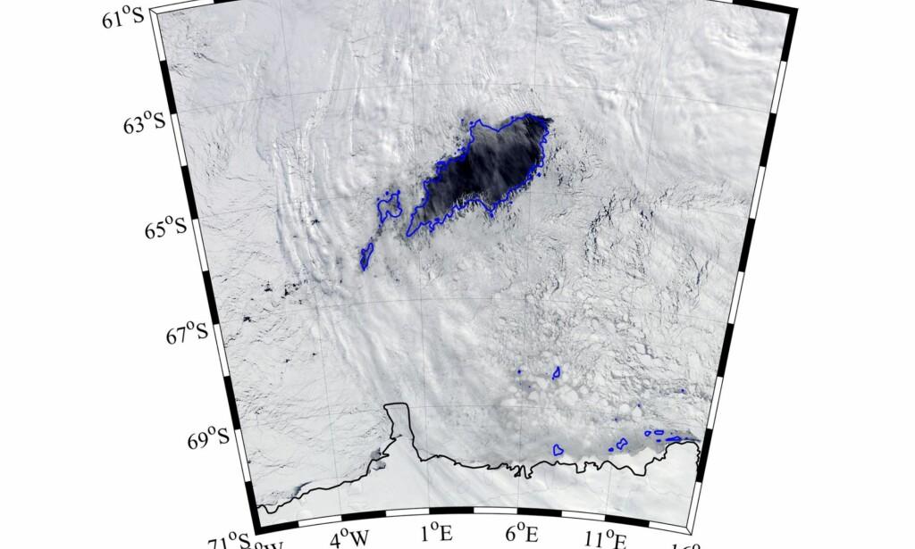 IKKE SETT PÅ 40 ÅR: Polynjaen i Weddellhavet var på størrelse med New Zealand hver vinter i åra 1974-76. Så forsvant den og ble ikke sett igjen før i fjor. Foto: AMSR2 ASI via Bremen-universitetet