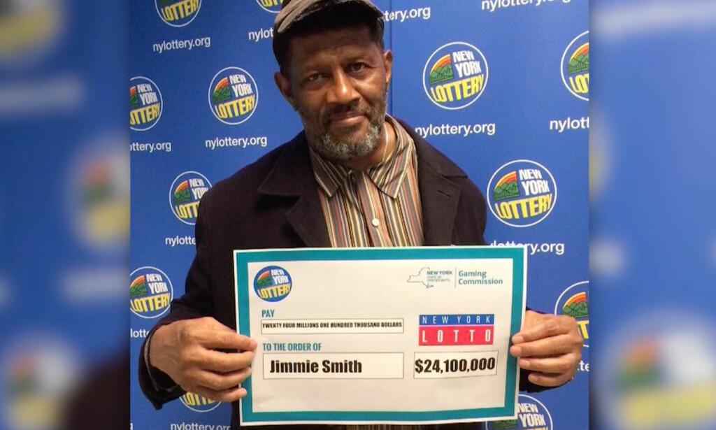 I GREVENS TID: Ifjor kjøpte den pensjonerte sikkerhetsvakten Jimmie Smith en lottokupong. 363 dager senere oppdaget han at han hadde vunnet 190 millioner kroner. Det var to dager før fristen for å hente ut premien. Foto: NY Gaming Commission via CNN