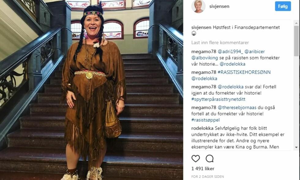 HØSTFEST I FINANSDEPARTEMENTET: Skjermdump av Siv Jensen på Instagram.