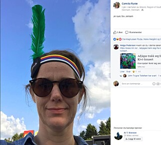 JE SUIS SIV JENSEN: Camilla Ryste, kommunikasjonssjef i Arbeiderpartiet, på Facebook. Skjermdump.