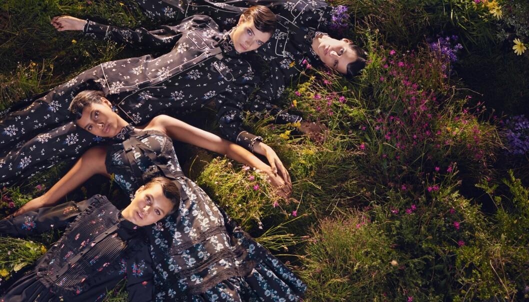 ERDEM x H&M: Norske Ruby Dagnall (i front) og tre andre modeller poserer for fotograf Michal Pudelka i samarbeidskolleksjonen til britiske Erdem og svenske H&M. Foto: Michael Pudelka