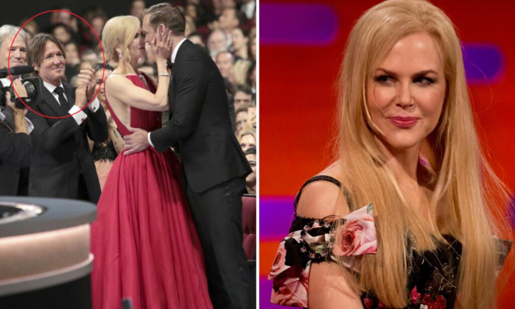 SKAPTE REAKSJONER: Alexander Skarsgård kysset motspiller Nicole Kidman, foran ektemannen hennes, da han skulle hente hjem sin første Emmy-pris forrige måned. Nå forteller Kidman hvorfor duoen reagerte slik de gjorde. Foto: NTB Scanpix