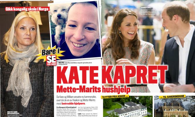 <strong>GODE ORD:</strong> Mette-Marit skal nok ha gitt hertuginne Kate gode ord om sin tidligere hushjelp, Sadie Rice. Foto: Faksimile, Se og Hør