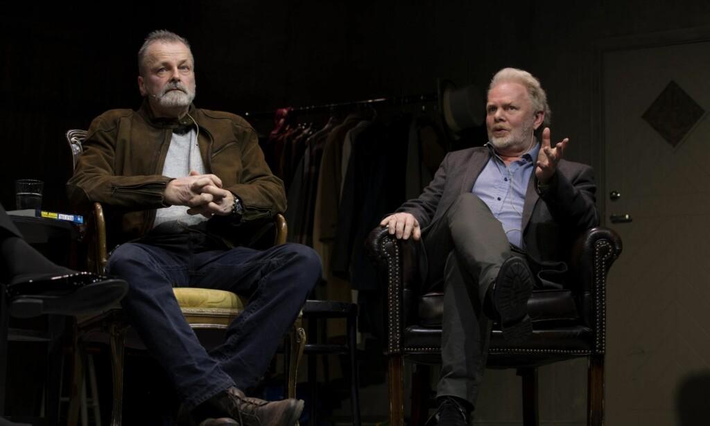 SAMMEN: Eirik Jensen og forfatter Torgrim Eggen (t.h.) på krimfestivalen. Forfatteren trodde ikke at Jensen skulle bli dømt. Foto: NTB Scanpix