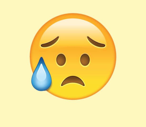 SKUFFET, MEN LETTA: Ved første øyekast kan dette se ut som en emoji som gråter, men den gang ei. I stedet er «tåren» en svettedråpe, og emojien skal symbolisere at man er lettet, men skuffet.