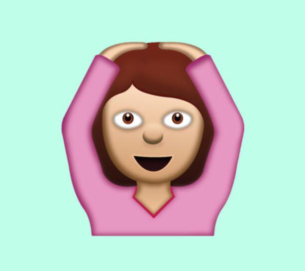 OK: Ikke en jente som danser ballet med hendene over hodet, men ifølge Unicode en kvinne som viser en gest som betyr OK.