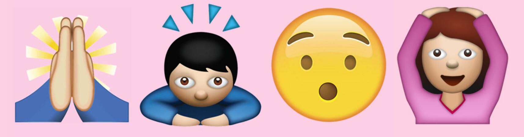 BRUKES FEIL: Disse er blant de emojiene veldig mange misforstår meningen bak – sjekk fasiten i sakne under. FOTO: Scanpix