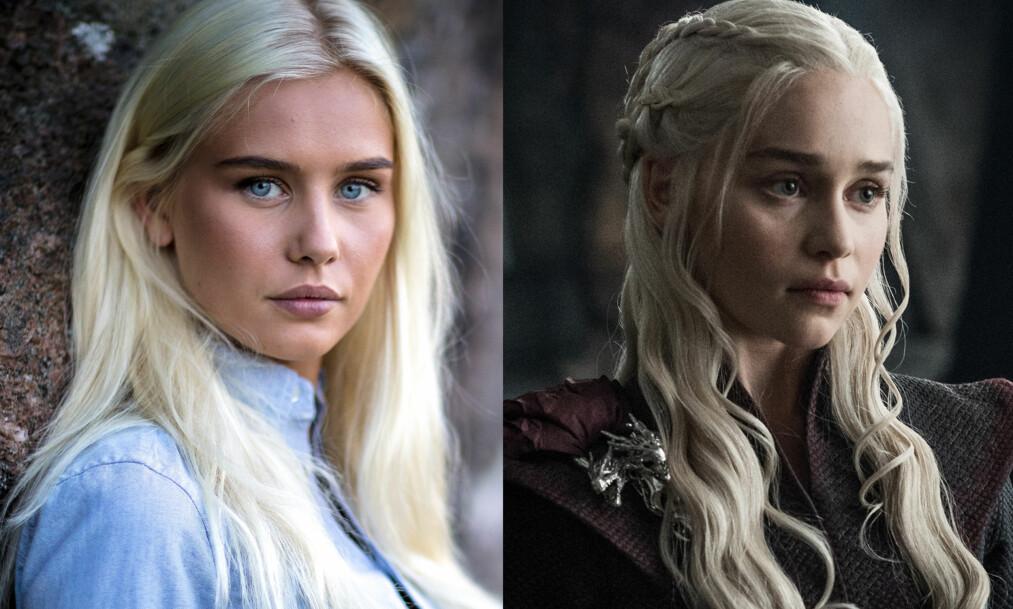SER DU LIKHETEN? «Farmen»-deltakeren Amalie Snøløs (21) har registrert at mange sammenlikner henne med Emilia Clarkes «Game of Thrones»-karakter Daenerys Targaryen. Foto: Alex Iversen / TV 2, HBO Nordic