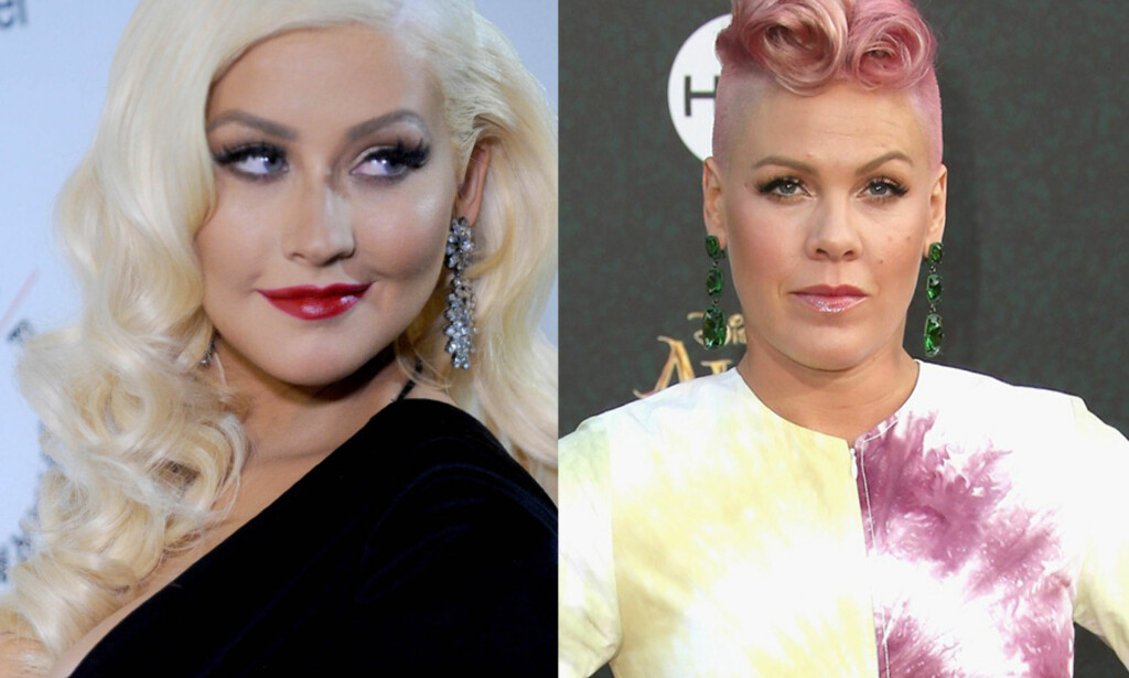 DRAMA: Christina Aguilera og Pink har tidligere hatet hverandre. Det endte nesten i slåsskamp på 2000-tallet. Foto: NTB scanpix