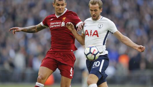 Dejan Lovren fikk det vanskelig mot Harry Kane og Tottenham. Foto: AP Photo/Frank Augstein