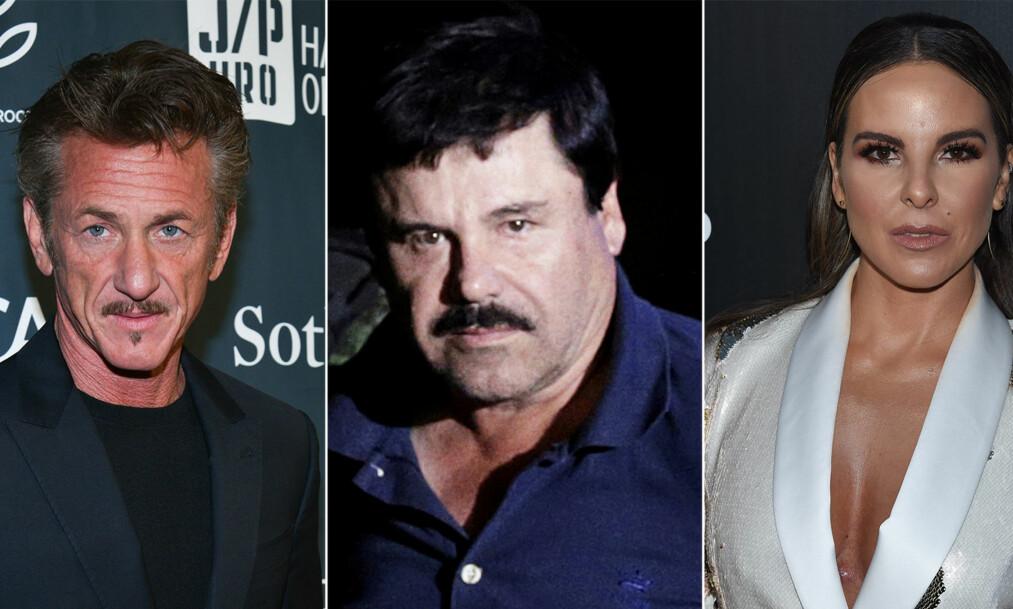 <strong>ER REDD:</strong> Filmstjerna Sean Penn skal være bekymret for sin egen sikkerhet i forbindelse med lanseringa av Netflix-dokumentaren «Dagen jeg møtte El Chapo», der skuespiller Kate del Castillo (t.h.) forteller om møtet med den notoriske narkobaronen (midten). Foto: NTB scanpix