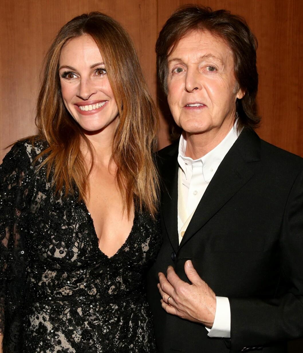 Julia Roberts og Sir Paul McCartney under Grammy Awards i 2014.