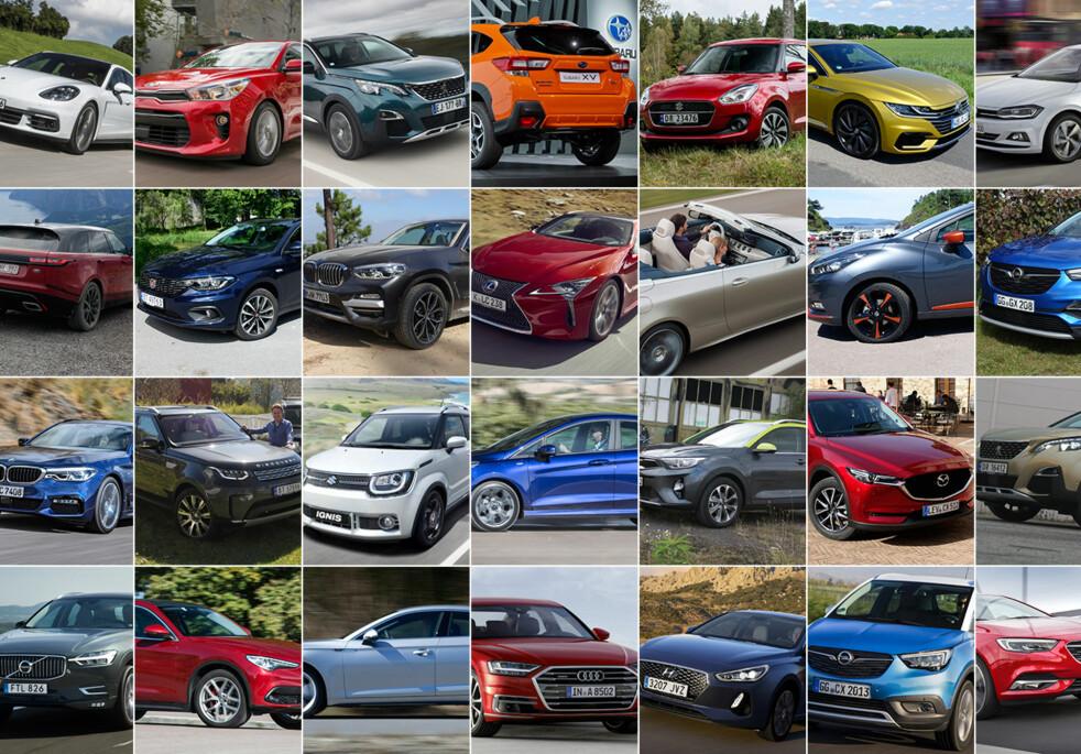 <strong>ÅRETS BIL 2018:</strong> Én av disse 32 bilene går av med seieren. Du kan bidra med din stemme til Folkets Favoritt.