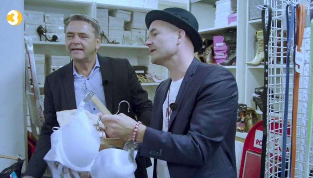 MERKELIG: Beate Hattmyr forteller at skoene og undertøyet egentlig skulle selges på private arrangementer, men at de brukte butikken som lagringsplass for de malplasserte varene. Foto: TV3