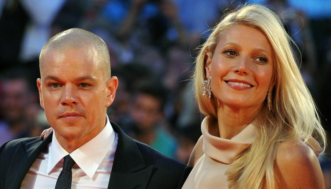 JOBBET SAMMEN: Gwyneth og Matt Damon har spilt sammen i flere filmer. Her kom de sammen under en filmsetival i Venezia i 2011. Foto: NTB Scanpix.