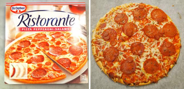 Ristorante Pizza Pepperoni-Salame 46,50 kroner fra Coop Mega for 320 gram, 145,31 kroner per kilo.