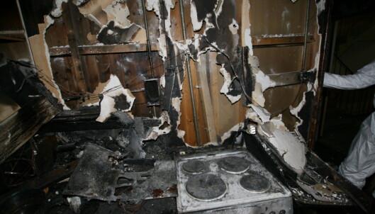 <strong>TØRRKOK:</strong> Dette bildet er fra februar da et kjøkken tok fyr som følge av tørrkok. Foto: Oslo brann - og redningsetat.