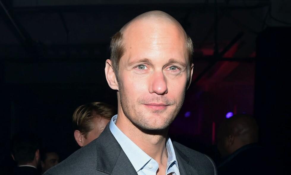 NY FRISYRE: Den svenske skuespilleren overrasket nylig med ny frisyre på en utstilling i New York. Foto: NTB Scanpix