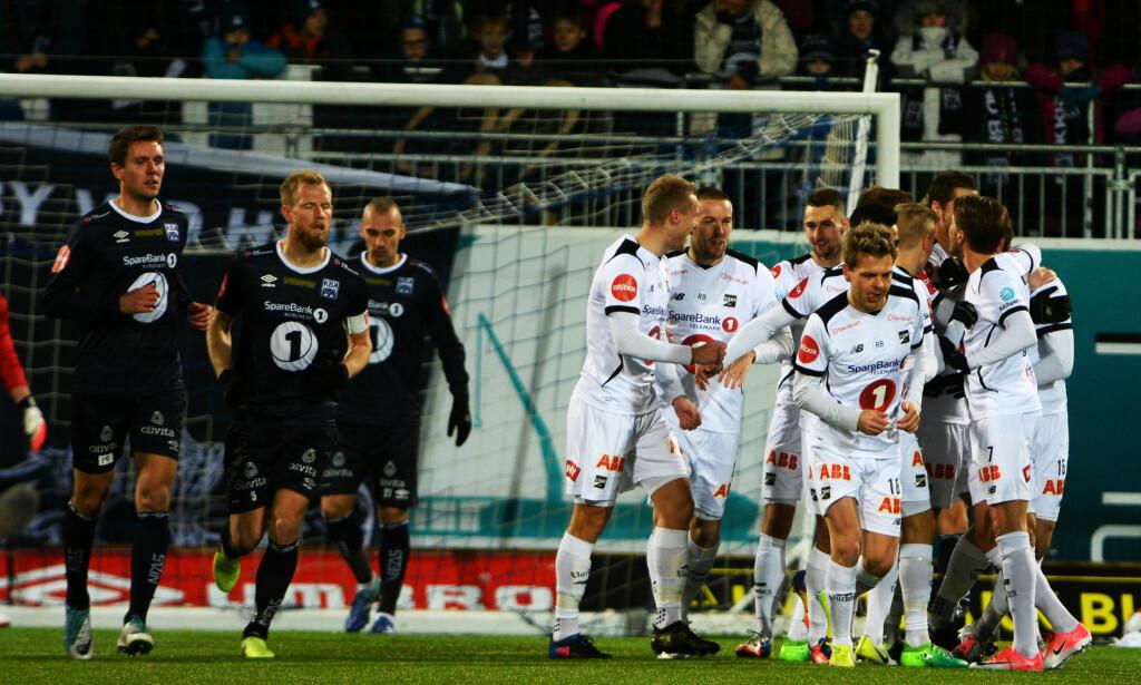 REDDET POENG: Her jubler Odd etter kampen første mål etter bare to minutter mot KBK. Foto: Anders Tøsse / NTB scanpix