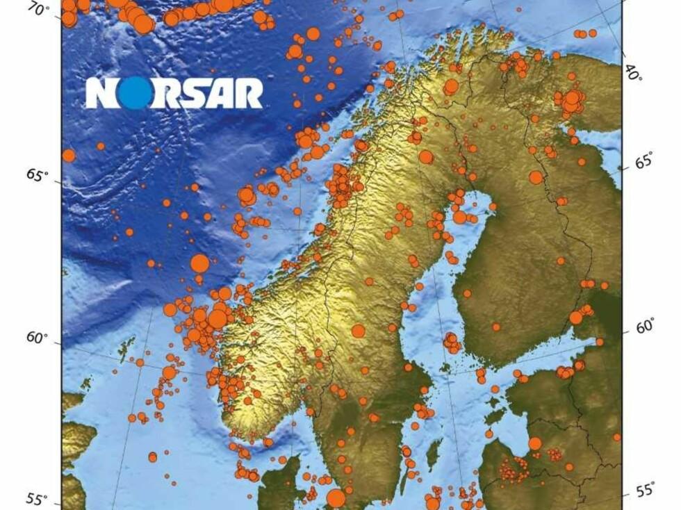 SEISMISITET: Kartet viser seismisitet (jordskjelv med styrke på 3 eller mer) i Norden siden 1970. Foto: Norsar