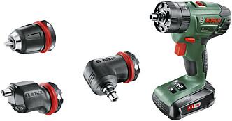 <strong>Multidrill:</strong> 18V bormaskin med tre forskjellige forsatser: chuck-, eksenter- og vinkelforsats. Bosch Advanced impact 18 Quick snap slagboremaskin. Pris: 1628 Foto: produsenten