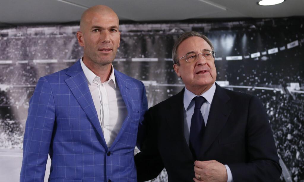 VALGTE ZIDANE: Real Madrids klubbpresident Florentino Perez. Foto: AP/NTB Scanpix