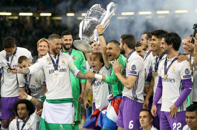 VANT IGJEN: Real Madrid-spillerne feirer Champions League-seieren over Juventus. Foto: NTB Scanpix