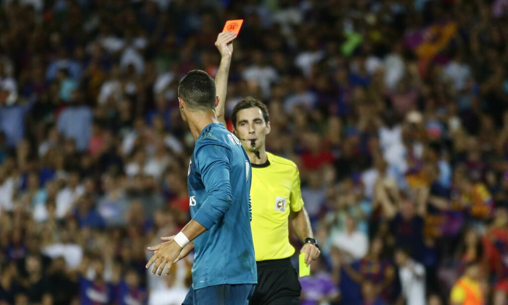 UTVIST: Cristiano Ronaldo fikk det røde kortet. Foto: AP Photo/Manu Fernandez/NTB Scanpix