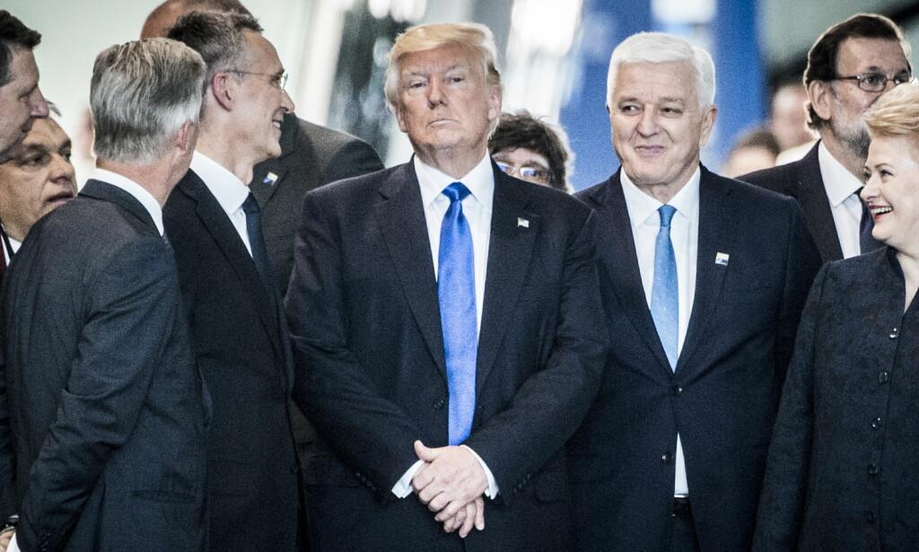 TRENGER DIPLOMATISK HJELP: Kilder sier til CNN at Trump-administrasjonen søker ekstern ekspert som kan hjelpe dem under forhandlingsbordet med Nord-Korea. Her er Trump under NATO-møtet i fjor. Foto: Lars Eivind Bones / Dagbladet