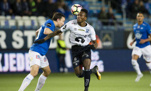 HELT: Kristiansunds Daouda Bamba scoret kampens eneste mål. Foto: Svein Ove Ekornesvåg / NTB scanpix