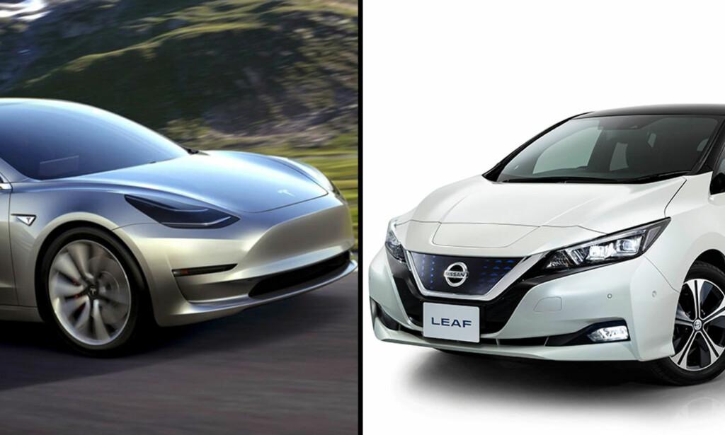 FØRSTE TESTTUR: Våre amerikanske testpiloter fikk fotoforbud da de fikk lagt vantene på et eksemplar av den nye Tesla Model 3 i California. Derfor kan vi bare vise bilder fra produsenten. Nye Nissan Leaf kan bli klar for det norske markedet i mars/april neste år. Den har vi prøvekjørt. I denne artikkelen får du vite alt du trenger å vite om de to nye elbilfavorittene. Foto: Tesla og Nissan